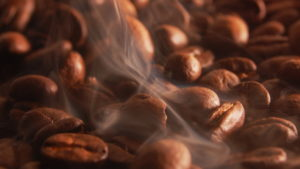 roasting coffee for breakfast in the morning